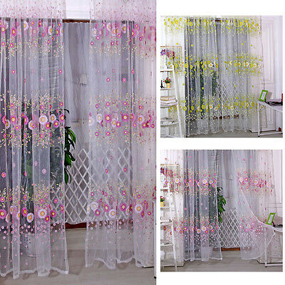 Floral Tulle Voile Door Window Curtain Drape Panel Sheer Scarf Valances 2 Colors
