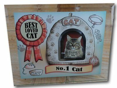 Number 1 Cat Best loved cat - glass photo frame