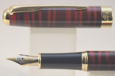 Baoer No. 388 Red & Black Marble Medium Fountain Pen with Gold Plated Trim