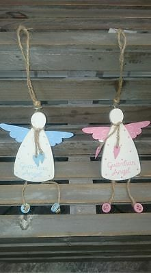 *gisela Graham Hanging Wooden Guardian Angel Shabby Chic Home Decoration Gift*