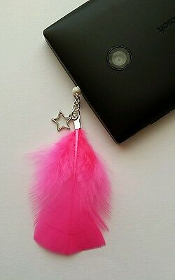 Pink Feather & Star Dangle Charm For Mobile Phone. Tablet. Iphone. Dust Plug.