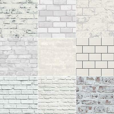 White Brick Effect Wallpaper - 5 Styles - Feature Wall - New - Free P+P