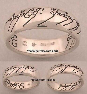 Lord of the Rings -Sterling Silver One Ring -Black script.