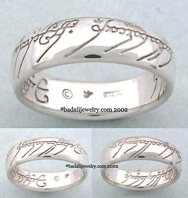 Lord of the Rings - Solid Sterling Silver One Ring - Plain Script - Size 9