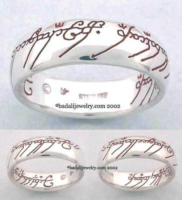Lord of the Rings - Sterling Silver One Ring - Red Script -Size 7