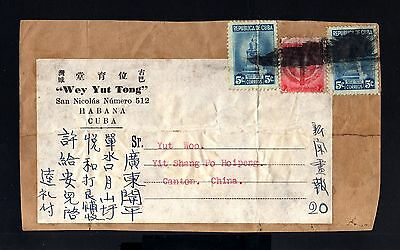 8419-CUBA-OLD FRONT COVER LA HABANA to CANTON (china)1946.WWII.