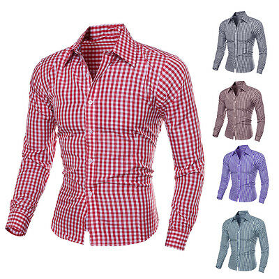 Luxury Stylish Men's Casual Shirts Long Sleeve Check Slim Fit Dress Shirts Tops