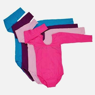 Multicolor Child Kids Girls Long Sleeve Ballet Gymnastics Dance Leotard Bodysuit