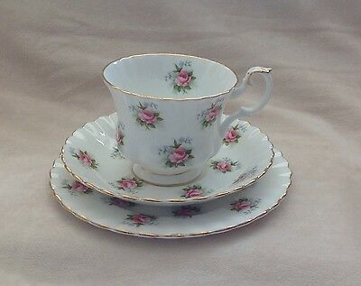 Vintage Royal Albert Forget-Me-Not Pink Trio Cup Saucer Plate Excellent Rare