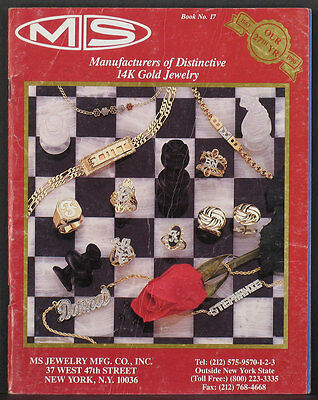1990 M.S. JEWELRY MANUFACTURING 67+ page catalog of gold diamond creations etc.