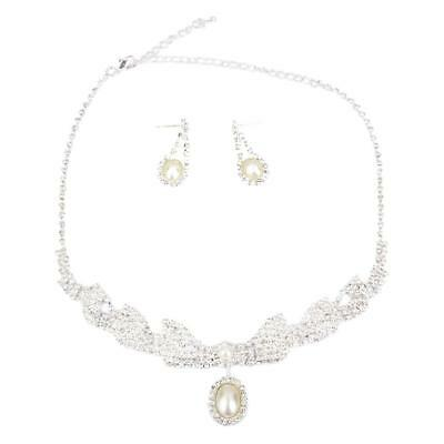 Rhinestone Pearl Necklaces Earrings Silver Jewelry For Wedding Bridal