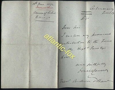 1892 Donald Cameron of Lochiel, letter ACHNACARRY £18- for Highland Society Show
