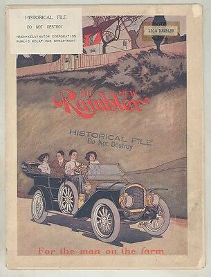 1910 Rambler Model 53 55 Touring ORIGINAL Large Brochure Poster Kenosha wv6113