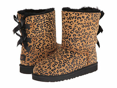 031e62b57d3 NEW GIRL UGG Australia Bailey Bow Leopard Suede Boots 1008217 size 6C--6Y.