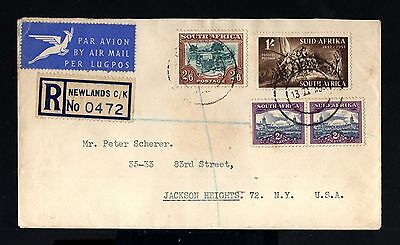 8469-SOUTH AFRICA-AIRMAIL registered COVER NEWLANDS to NEW YORK (usa)1953.AFRICA