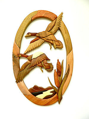 Flying Geese In Flight Bird Intarsia Wood Wall Art Home Decor Plaque Lodge New