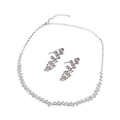 Bridal Wedding Jewelry Crystal Rhinestone Diamante Necklace Earring Set