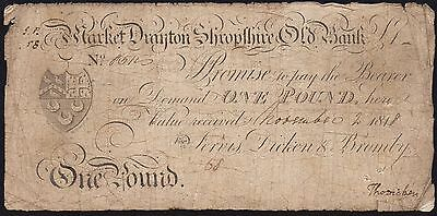 1818 MARKET DRAYTON AND SHROPSHIRE OLD BANK £1 BANKNOTE * VG * Outing: 1392a *