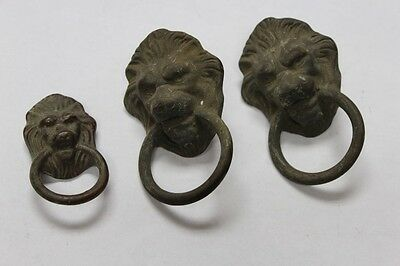 3pc Bronze Vintage Antique 3D Lion Head Drawer Pulls Ornate Handles Hardware