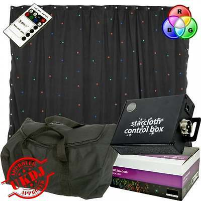 3m x 2m Starcloth Sparkley Drape RGB LED Star Cloth Backdrop + Bag & IRC Remote
