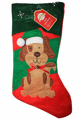 Cute Dog Christmas Stocking With Bell Green & Red Xmas Gift
