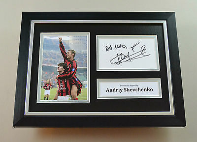 Andriy Shevchenko Signed A4 Photo Framed AC Milan Autograph Display Memorabilia