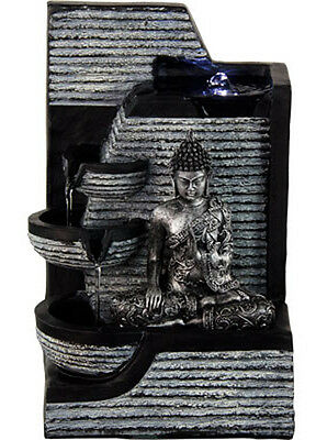 Kheops International - Water Fountain Silver Buddha with White Light (27335)