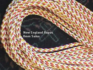 "8mm (about 5/16"")  Salsa Rope White/Red,  per ft. #1681-08 great 4 mainsheet"