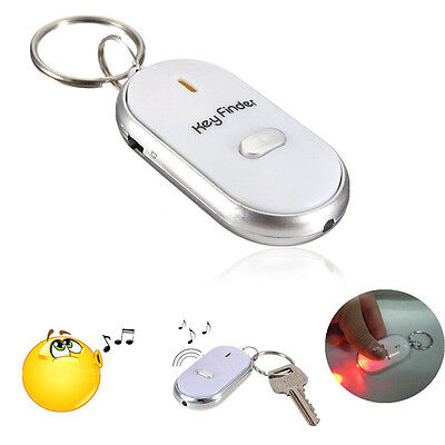 LED Torch Anti-Lost Key Finder Whistle Beep Sound Control Find Locator Keychain