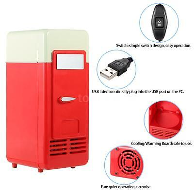 Mini USB Refrigerator Drink Cans Heating & Cooling Dual-use Red Blue Light Y6B6