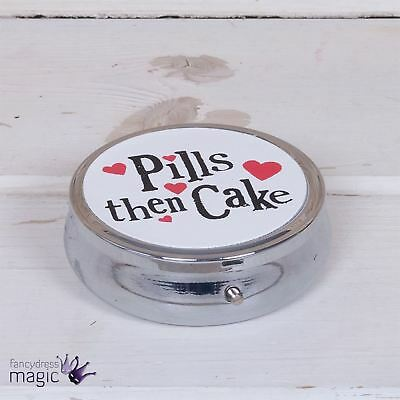 The Bright Side Pills Then Cake Mini Pill Box Tin Medication Tablets Travel Gift