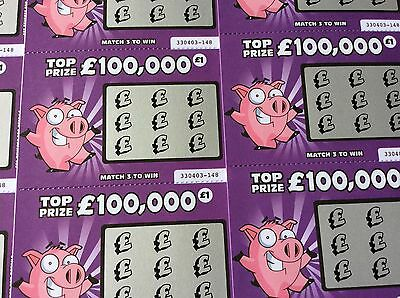 Fake Joke Lottery Scratch Cards Choose Your Colour And Number