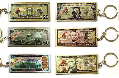 Lot Of 12 Pcs Usa Dollar Bill Magnetic Key Chain New Us $ Magnet Key Ring 69703