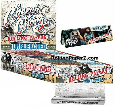 FULL BOX/25 Packs Cheech & Chong UNBLEACHED HEMP 1 1/4 Cigarette Rolling Papers