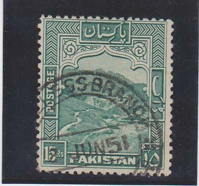 (UXWW009) PAKISTAN 1948 Khyber Pass SG42 15Rs Fine Used