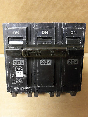 GE THQL 3 pole 20 amp 240v THQL32020 Circuit Breaker UPDATED STYLE