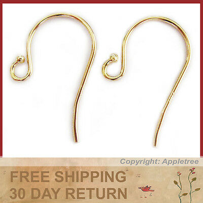 14K Solid Yellow Gold Earwires W/Bead Tip - DIY Earrings - French Ear Hooks 14KT