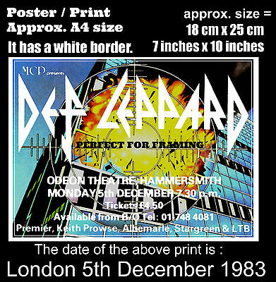 Def Leppard live concert Hammersmith London 5 December 1983 A4 size poster print