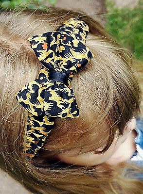 -:- Cheetah Ruffled Bow Headband -:- All Sizes Available from Preemie to Adult