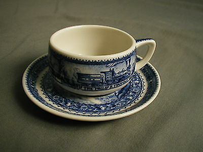 Vintage Ceramic Railroad China - Cup & Saucer - Blue & White - Baltimore Ohio