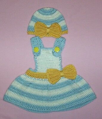 Crochet Berenguer Baby Jumper Dress Blue Yellow Fits Berenguer/Thumbelina 19-22""