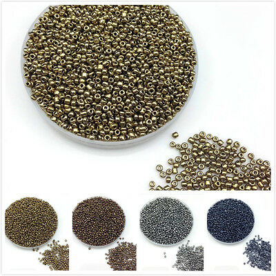 1000pcs 2mm 16g Metal Color Round Opaque Czech Glass Seed Beads Jewelry DIY Make