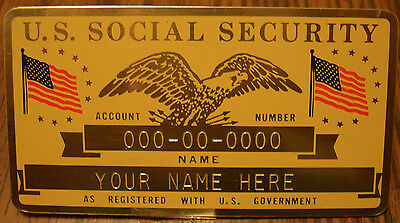 Metal U.S. Social Security ID Card Flags - Gold Color - Custom Engraved