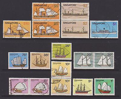 (UXSG017) SINGAPORE 1980 Ships Stamps to $10 fine used