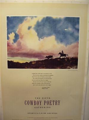COWBOY Poetry 1989 Poster from the Poetry Gathering at  Elko Nevada