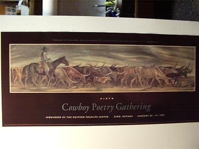 COWBOY Poetry 1993 Poster from the Poetry Gathering at  Elko Nevada