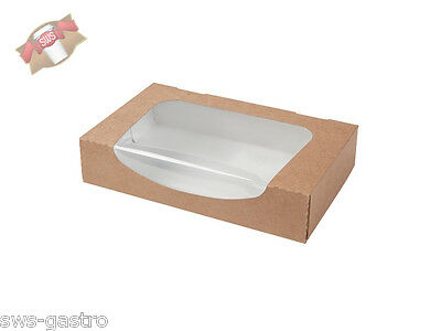 (BIO-08120) 400 Sushi Kartonbox mit Bio Fenster 900 ml Box Sushibox to go