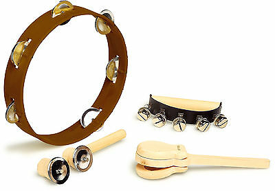 Childs Percussion Musical Instruments - Tambourine Handbells Clackers Bells 1700