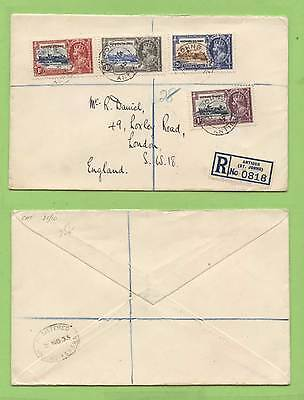 Leeward Island 1935 KGV Silver Jubilee set on registered cover to England