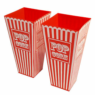 Reuseable Retro Plastic Popcorn Pop Corn Holders Tubs RED (HB)